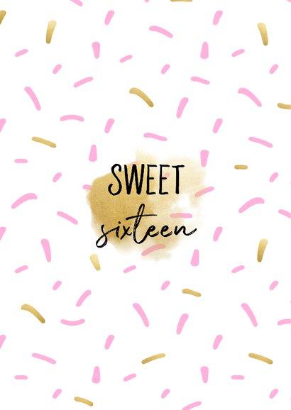 Uitnodiging sweet sixteen met polaroid foto en confetti 2