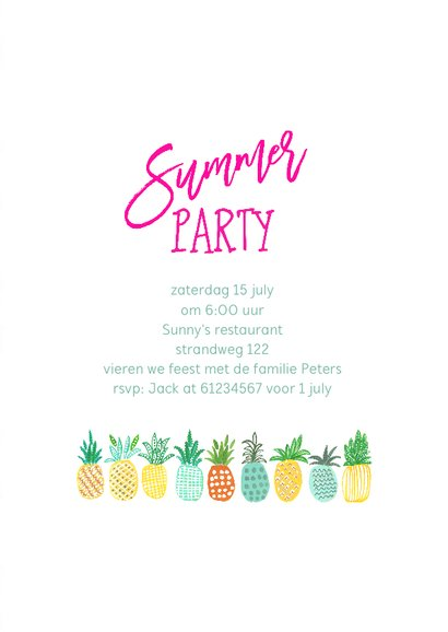 Uitnodiging Tropisch feestje Ananas 3
