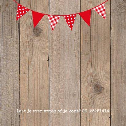 Uitnodiging tuinfeest BBQ houtprint slinger 2