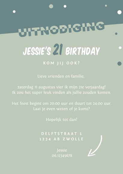 Uitnodiging verjaardag grafisch hip en modern met confetti 3