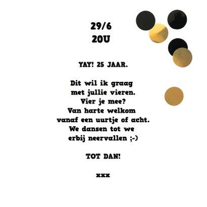 uitnodiging verjaardag grote confetti goud zwart 3