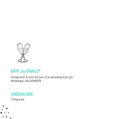 Uitnodiging verjaardag hip met eigen foto en champagneglazen 2