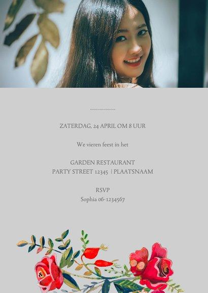Uitnodiging verjaardag rozen en stippen 3