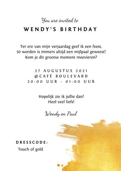 Uitnodiging verjaardag stijlvol en klassiek met goud 3