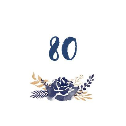 Uitnodiging verjaardag stijlvolle blauwe en goudlook bloemen 2