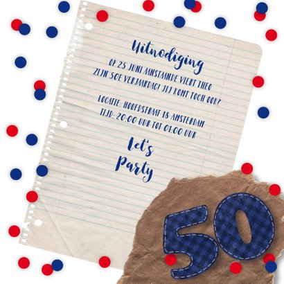 Uitnodiging verjaardagsfeest man 50 stoer foto 3