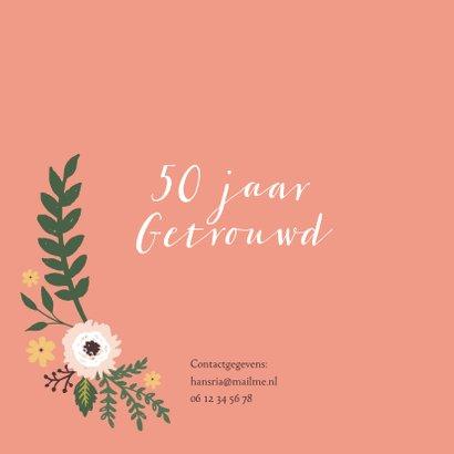Uitnodiging vijftig jarig huwelijks jubileum bloemen 2