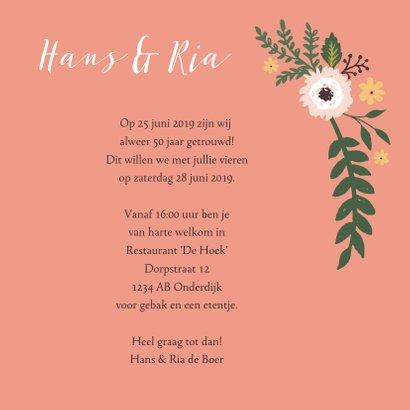 Uitnodiging vijftig jarig huwelijks jubileum bloemen 3