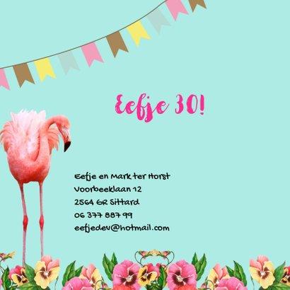 Uitnodiging voor een feestje, hip met flamingo's 2