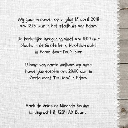 Unieke foto trouwkaart hout met linnen print 3