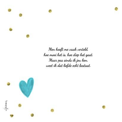 Valentijn Ik hou van jou vierkante kaart met gouden confetti 2