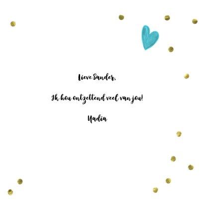 Valentijn Ik hou van jou vierkante kaart met gouden confetti 3