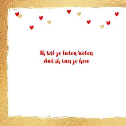 Valentijnskaart foto hartjes goud rood 2
