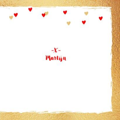 Valentijnskaart foto hartjes goud rood 3