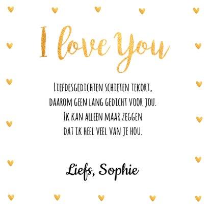 Valentijnskaart fotocollage hartjes goud 3