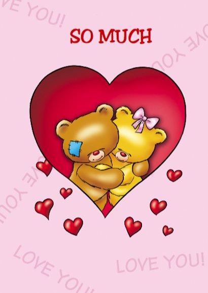 Valentijnskaart liefde beren tussen harten 3