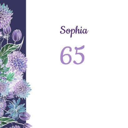 Verjaardag hart paarse bloemen 2