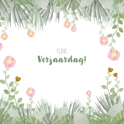 Verjaardag hippe kaart met bloemen en botanica 3
