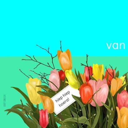 Verjaardag - hond met tulpen 2
