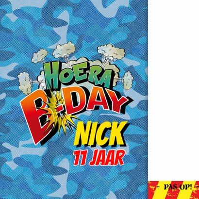 Verjaardag Strip cartoon uitnodiging camouflage 2