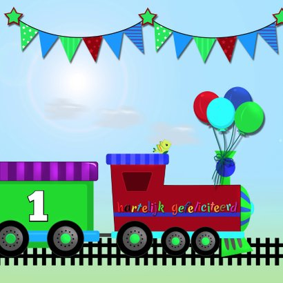 Verjaardagkaart stoere trein 2