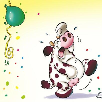 Verjaardagskaart 9 koe hond muis met ballonnen 2