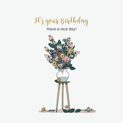 Verjaardagskaart bloemenwinkel groen 3