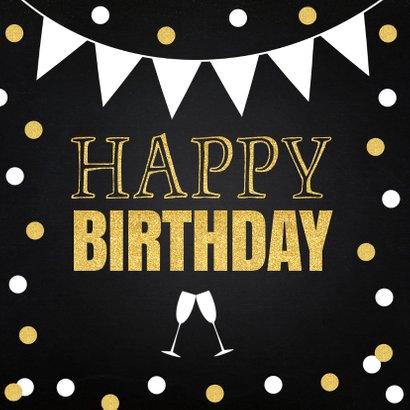 Verjaardagskaart confetti goud slinger krijtbord 2