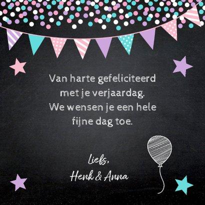 Verjaardagskaart confetti slinger sterren krijtbord 3