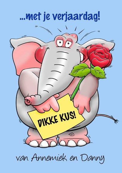 Verjaardagskaart dikke kus voor een man met olifant en roos 3