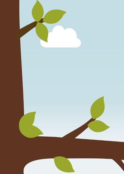 Verjaardagskaart jongen vogel in boom - DD 2