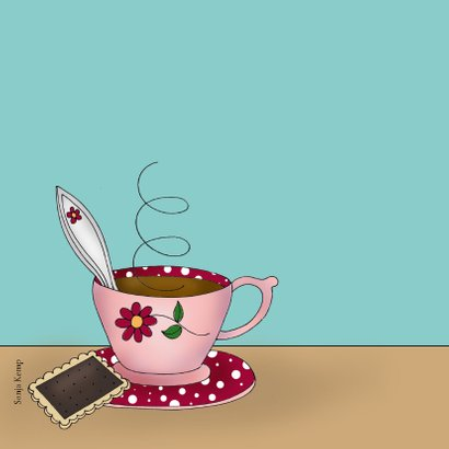 Verjaardagskaart kat met kopje thee of koffie 2