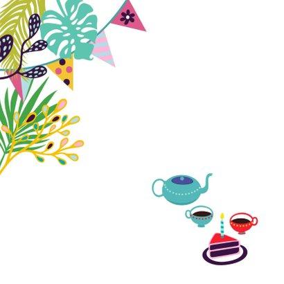 Verjaardagskaart kat thee en taart 2