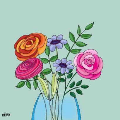 Verjaardagskaart Kat vaas bloemen - SK 2