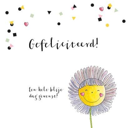 Verjaardagskaart meisje illustratie  bloem  confetti  2