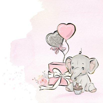 Verjaardagskaart meisje olifant en ballonnen 2
