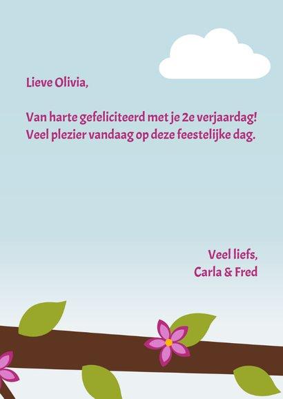 Verjaardagskaart meisje vogel in boom - DD 3