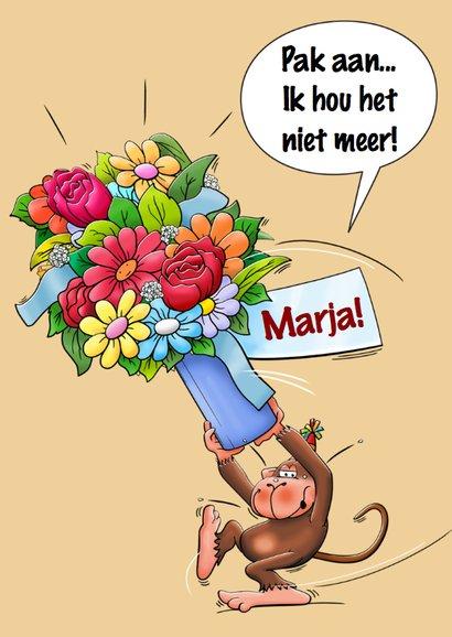 Verjaardagskaart met aap en vaas met bloemen 3