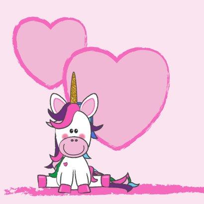 Verjaardagskaart met een vrolijke unicorn 2