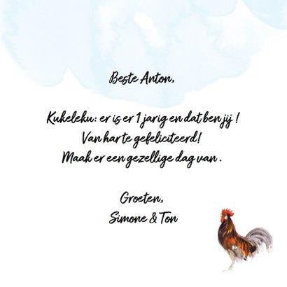 Verjaardagskaart met hanen: Ku-ke-le-ku! 3