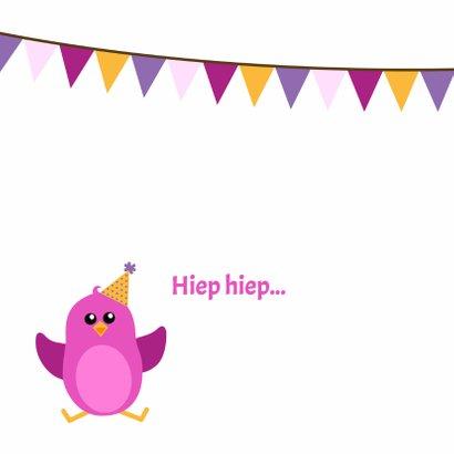 verjaardagskaart roze vogeltje in vogelhuisje - DD 2