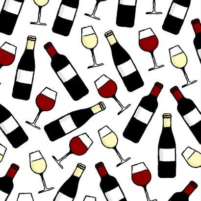 Verjaardagskaart 'Sip Sip Hooray' met wijnpatroon 2