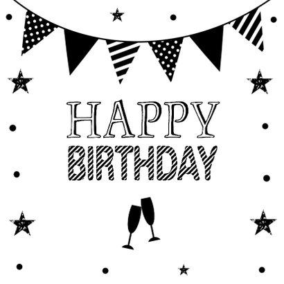 Verjaardagskaart slinger zwart wit confetti 2
