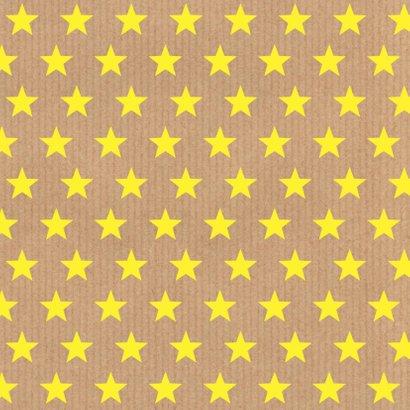 Verjaardagskaart sterren geel labelprint 2