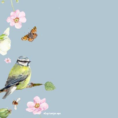 Verjaardagskaart vogels bloemen 2
