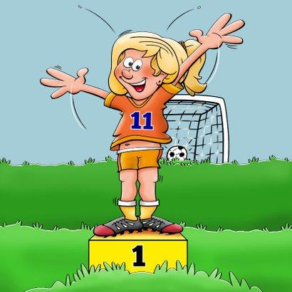 Verjaardagskaart voor voetballend meisje rond de 10 jaar 3