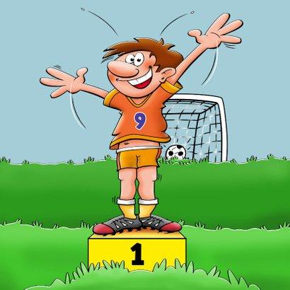 Verjaardagskaart voor voetballende jongen rond de 9 jaar 3