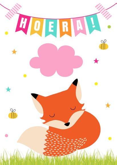 Verjaardagskaart vosje slinger roze 2