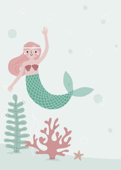 Vrolijke uitnodiging kinderfeestje zeemeermin met foto 2