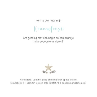 Waterverf kraamfeest uitnodiging met sterren en veertjes 2